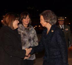 Sua Majestade a Rainha Sofia de Espanha é recebido pelo Presidente do Parlamento das Ilhas Baleares, Consuelo Huertas