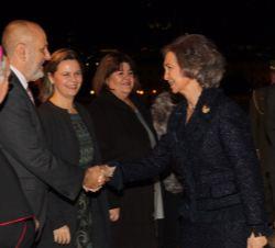 Sua Majestade a Rainha Sofia recebido pelo presidente do Consell de Mallorca, Miquel Ensenyat