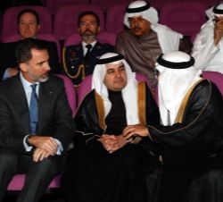 Su Majestad el Rey en primera fila de asientos en el salón de actos del King Abdullah City for Atomic and Renewable Energy KACARE