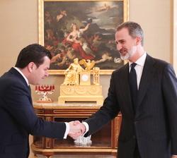 """Su Majestad el Rey recibe el saludo del presidente del """"Global Youth Leadership Forum"""", Jacobo Pombo García"""