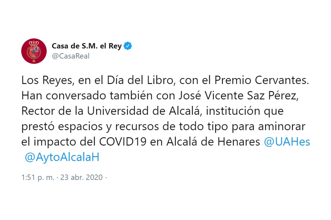 Inicio Actividades Y Agenda Conversación Telefónica De Sus Majestades Los Reyes Con El Rector Magnífico De La Universidad De Alcalá De Henares José Vicente Saz