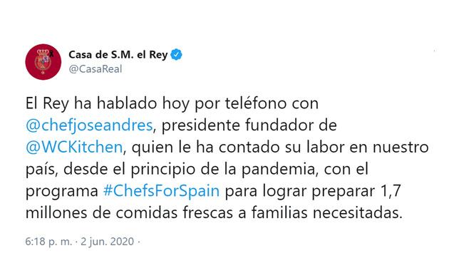 Su Majestad el Rey ha conversado con el Chef José Andrés, fundador de la ONG World Central Kitchen, que ha desplegado un programa para ofrecer comida