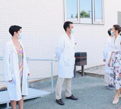 Sus Majestades los Reyes a su llegada al Instituto Murciano de Investigación Biosanitaria (IMIB)