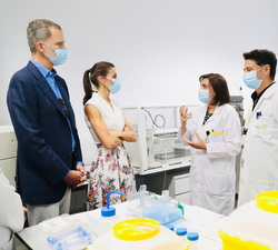 Sus Majestades los Reyes conversan con dos cientificos del Instituto Murciano de Investigación Biosanitaria (IMIB)