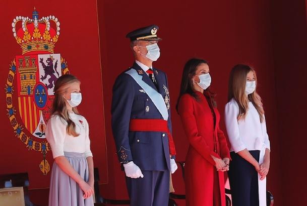 La Familia Real en el Palco de Honor durante el desarrollo de los actos