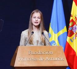 Su Alteza Real La Princesa de Asturias dirige unas palabras con motivo de los Premios Princes de Asturias 2020
