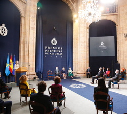 Intervención de Doña Leonor ante los premiados y personalidades asistentes a la Ceremonia de entrega de los Premios Princesa de Asturias 2020
