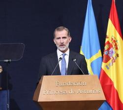 Don Felipe en su intervección en la Ceremonia de entrega de los Premios Princesa de Asturias 2020